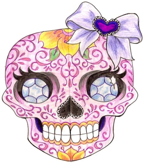 girly sugar skull tattoos sugar skull with diamonds and bow 3 by