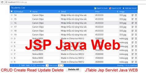 jtable netbeans tutorial pdf insert update delete jsp servlet java web crud jtable