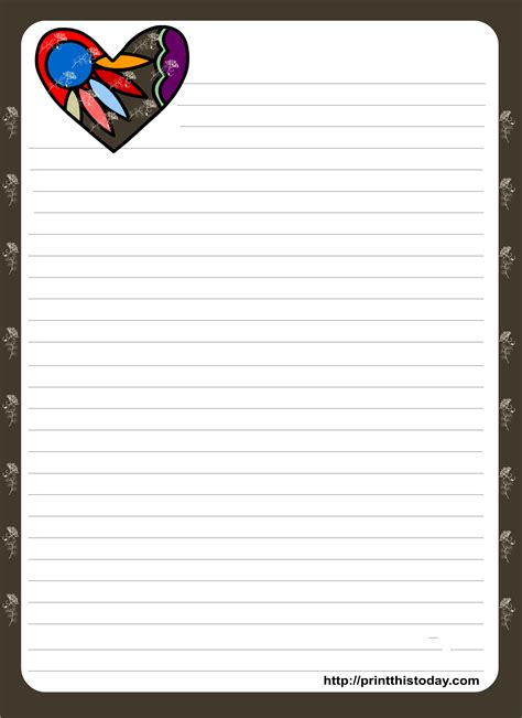 Love Letter Pad Stationery Downloadable Stationery Templates