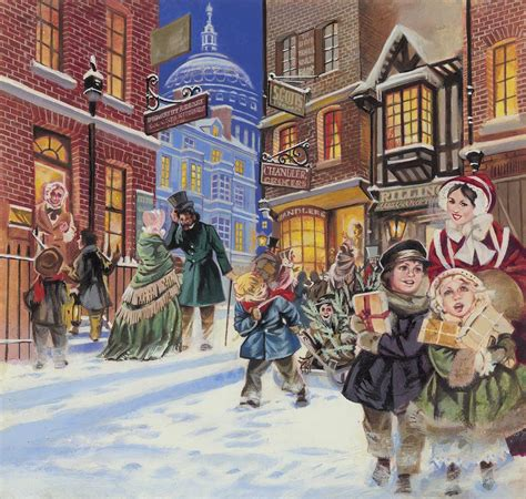 Woolworths Home Decor dickensian christmas scene painting by angus mcbride