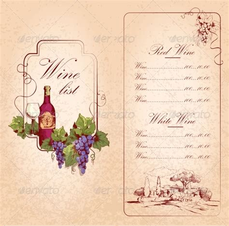 free wine list template wine menu templates 31 free psd eps documents