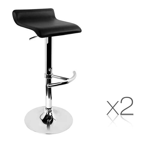Leather Bar Stools Set Of 2 by Artiss Set Of 2 Pu Leather Bar Stools Black