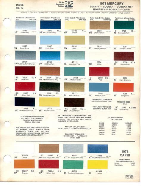 paint chips 1978 mercury zephyr xr 7 monarch bobcat
