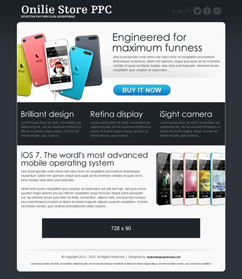 pay per click landing page design templates exle for