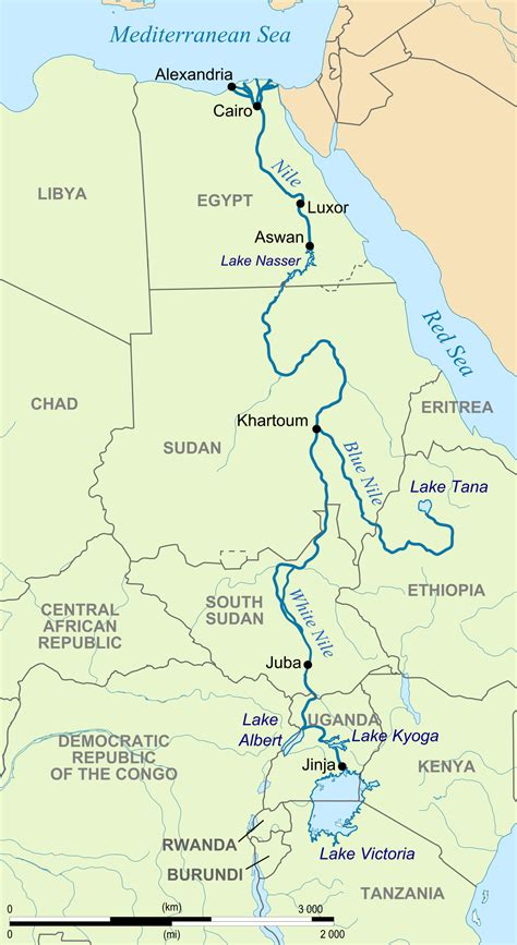 nile river on a map nil