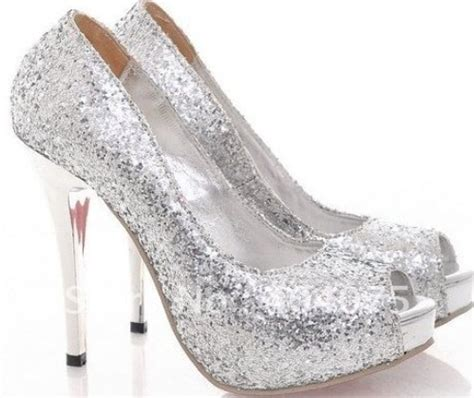 silver sparkle high heels silver sparkly heels shoes silver