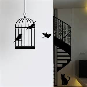 Farm Wall Stickers bird cage silhouette stencil ideal stencils