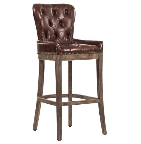brown bar stools leather ridley rustic lodge tufted brown leather bar stool kathy