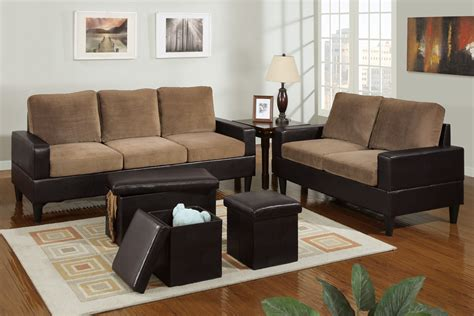two living room set bob kona 5 livingroom set in saddle microfiber and chocolate leather trim huntington