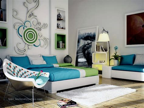 green blue white bedroom design interior