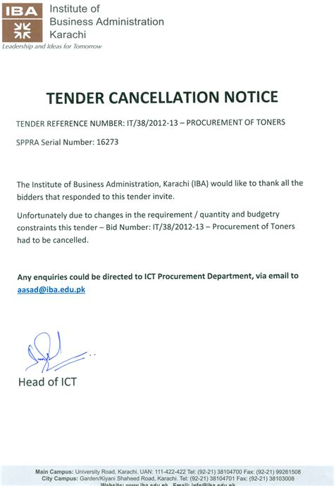 Offer Letter Cancellation Email Cancellation Letter Procurement Of Toners