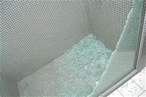 Shattered Shower Door Safety Security Glass Fragment Retention