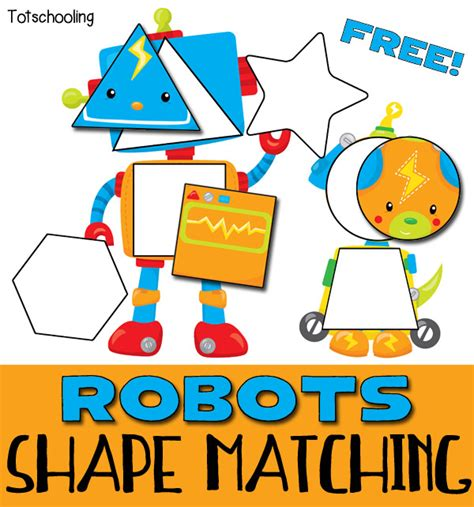 printable games for kids robot memory game free robots shape matching puzzle for toddlers totschooling