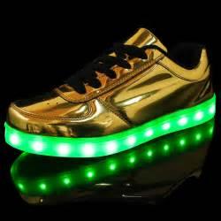 unisex new yeezy led light up gold shoes fashion leather