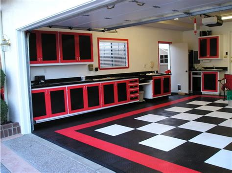 Race Storage Sheds by Classic Checkerboard Theme Garage With Racedeck Flooring