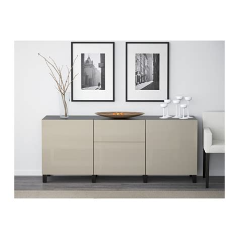 besta high gloss best 197 storage combination with drawers black brown