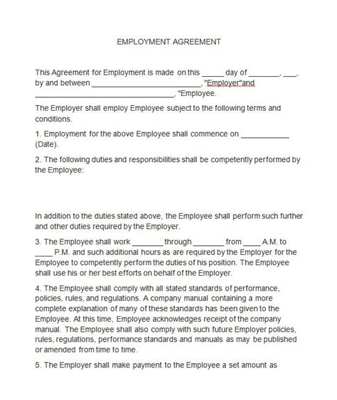 Letter Of Amendment To Employment Contract 40 Great Contract Templates Employment Construction Photography Etc