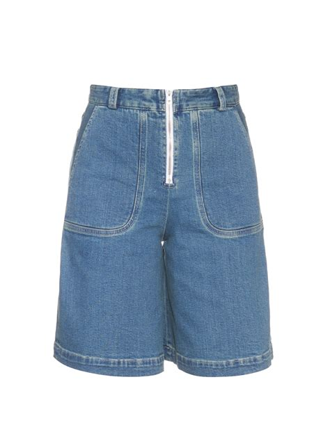 High Waist Wide Leg Denim Shorts see by chlo 233 wide leg denim shorts in blue lyst