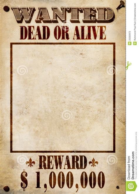 reward posters template wanted poster dollar reward stock illustration image
