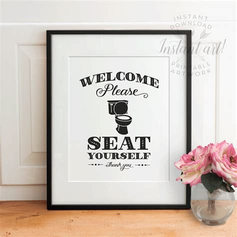 funny bathroom wall art funny bathroom wall decor printable art please seat yourself