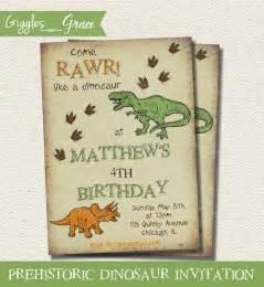 prehistoric dinosaur printable invitation by giggles
