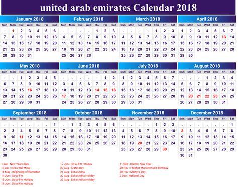 Calendar 2018 Uae Holidays 2018 Printable Calendar With Uae Dubai Holidays Free