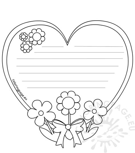 heart writing template mothers day coloring page