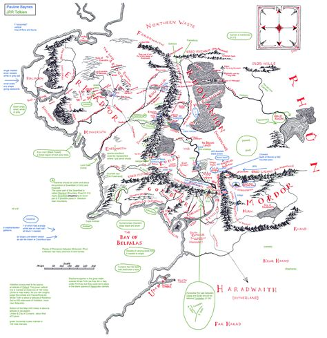 east middle earth map tolkien s annotated map of middle earth transcribed the