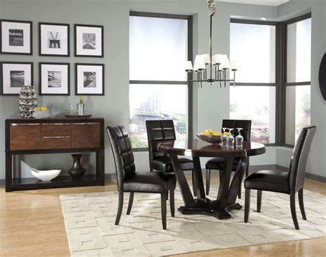 contemporary black dining room sets dining room black chairs with round table and wall art