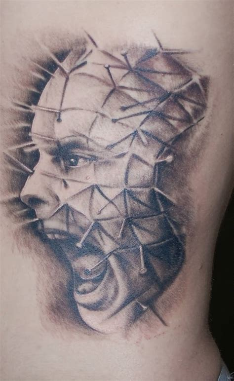 pinhead tattoo designs realistic colored yelling pinhead by stuntmanmike666