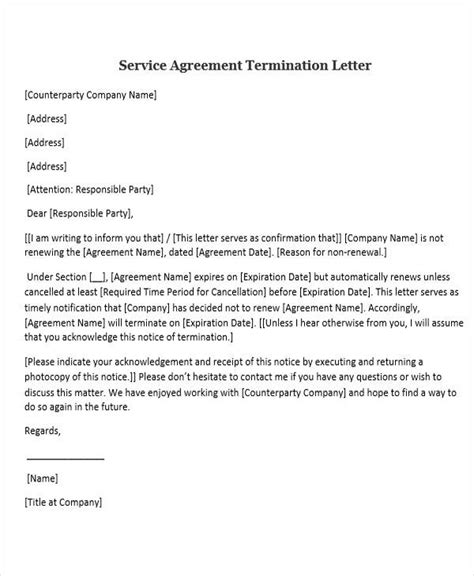 termination letter of service agreement 30 sle service letters sle templates