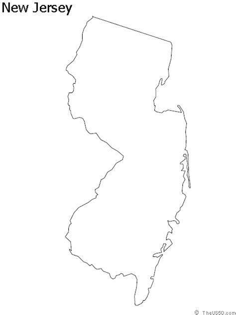 New Jersey State Map Outline by The Us50 View The Blank State Outline Maps