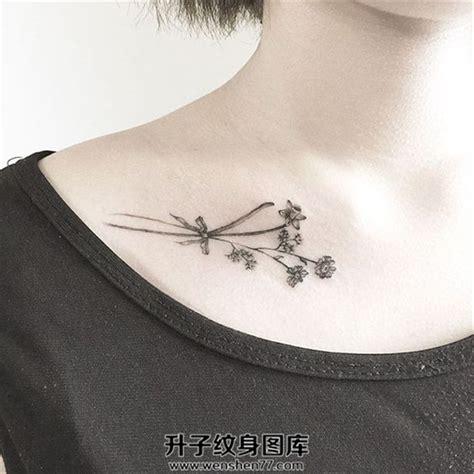 小清新的锁骨植物纹身 升子纹身520