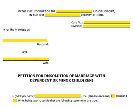 Petition Writing Sle Form 12 901 B 1 Petition For Divorce With Children Explained