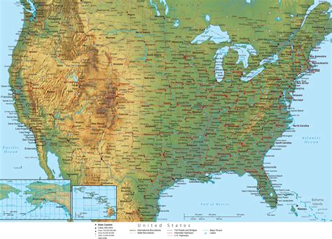 us physical map grand physical map of unted states
