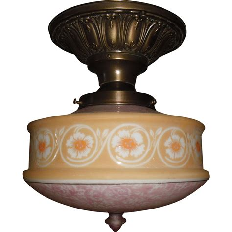 Light Fixture Glass Shades Brass Ceiling Light Fixture W Bellova Etched Glass Shade From Sherlocksantiquelights On Ruby