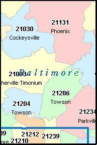 Baltimore City Zip Code Map by Baltimore County Maryland Digital Zip Code Map