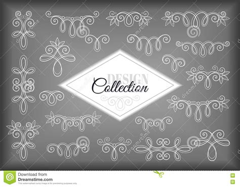 calligraphic vintage design elements vector set set of vintage calligraphic design elements and vector