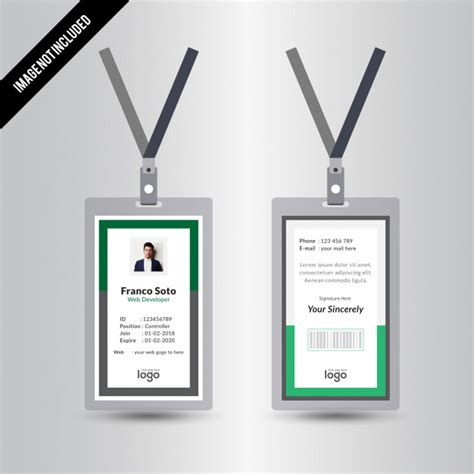 id card design jpg simple creative green staff id card design template vector
