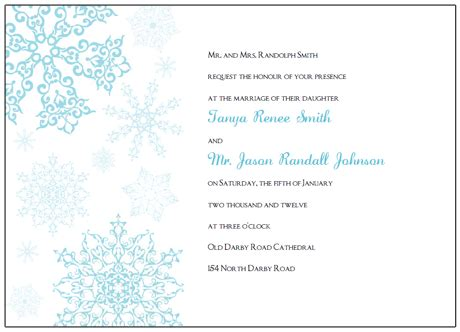 Printable Snowflake Wedding Invitations Snowflake Stationery Template
