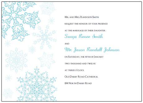 Printable Snowflake Wedding Invitations Free Winter Invitations Templates