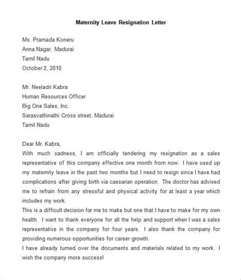 maternity letter for work