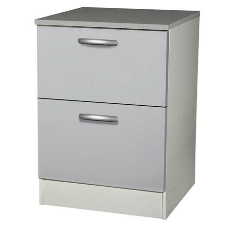 meuble de cuisine bas 2 tiroirs casseroliers gris