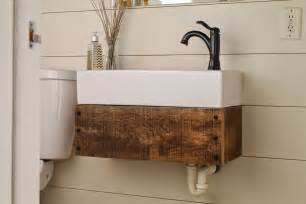 Floating Vanity Ikea by Remodelaholic Reclaimed Wood Floating Vanity