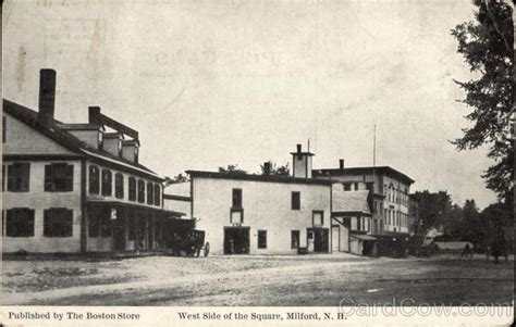 west side of the square milford ma postcard