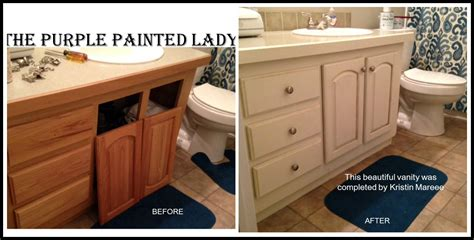 Diy Gel Stain Kitchen Cabinets by Vanity The Purple Painted Lady