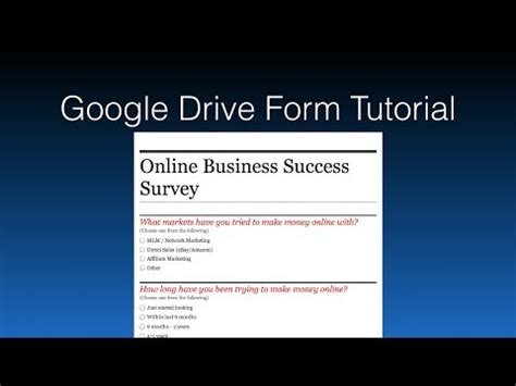 Google Drive Form Tutorial | google drive forms tutorial how to use the google drive