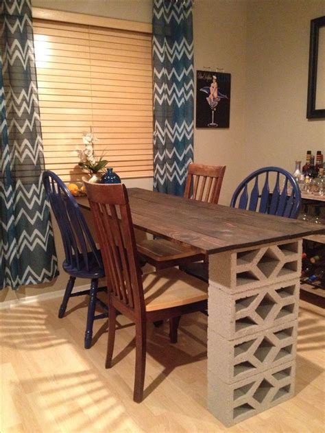 Dining Room Table Sets Home Depot Done Wood Stain And Cinder Blocks From Home Depot