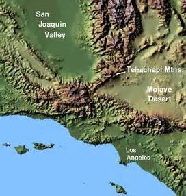 southern california mountain ranges map tehachapi mountains