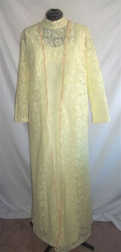 Baju Vintage Maxy pale yellow maxi dress with lace coat plus size 44 bust coats maxis and lace